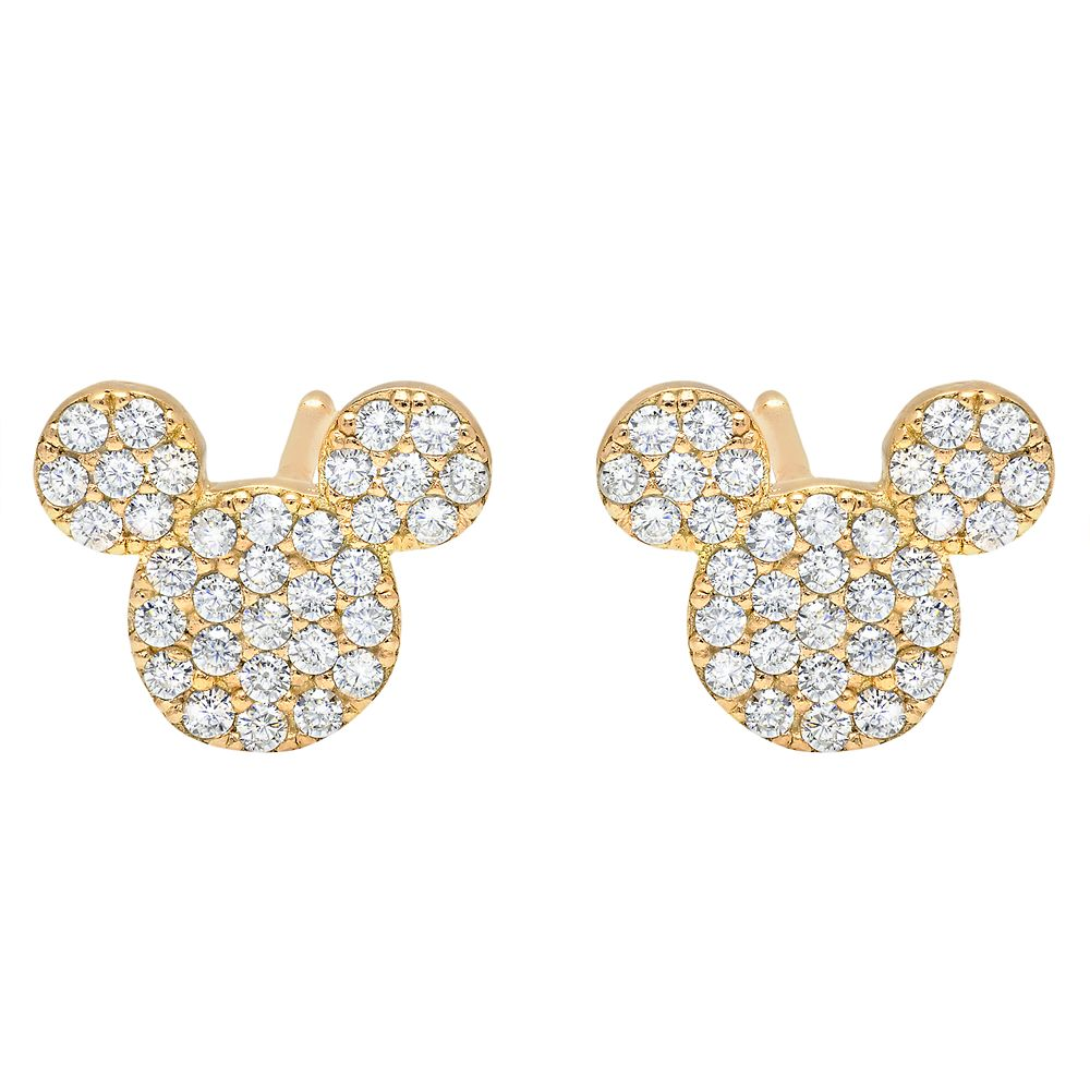 Mickey Mouse Icon Stud Earrings by CRISLU – Yellow Gold