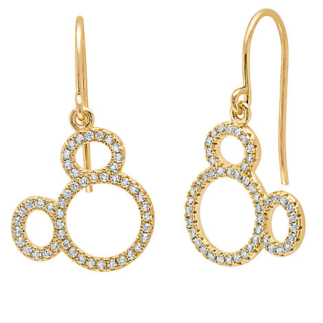 Mickey Mouse Icon Silhouette Earrings by CRISLU - Yellow Gold