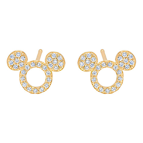 Mickey Mouse Icon Silhouette Stud Earrings by CRISLU - Yellow Gold
