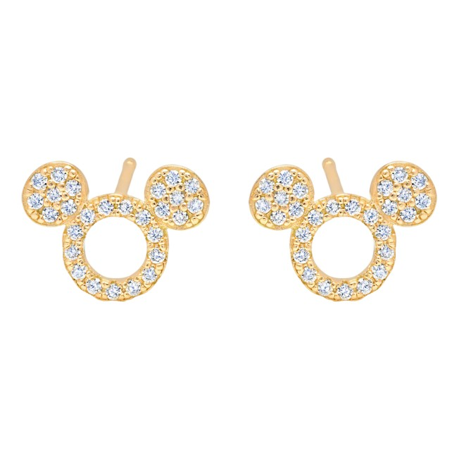 Mickey Mouse Icon Silhouette Stud Earrings by CRISLU – Yellow Gold