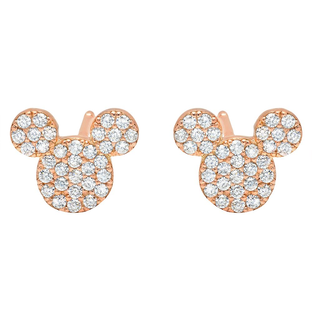 Mickey Mouse Icon Stud Earrings by CRISLU  Rose Gold Official shopDisney