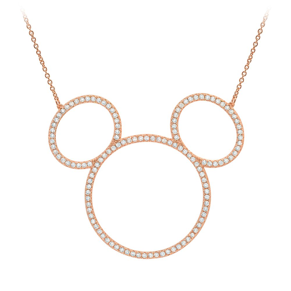 Mickey Mouse Icon Silhouette Necklace by CRISLU – Rose Gold