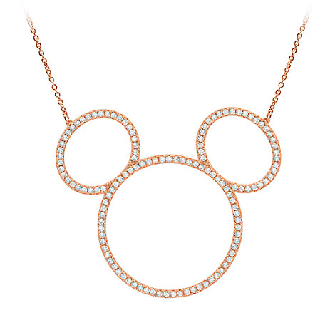 Mickey Mouse Icon Silhouette Necklace by CRISLU - Rose Gold