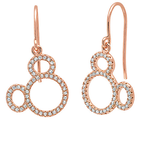 Mickey Mouse Icon Silhouette Earrings by CRISLU - Rose Gold