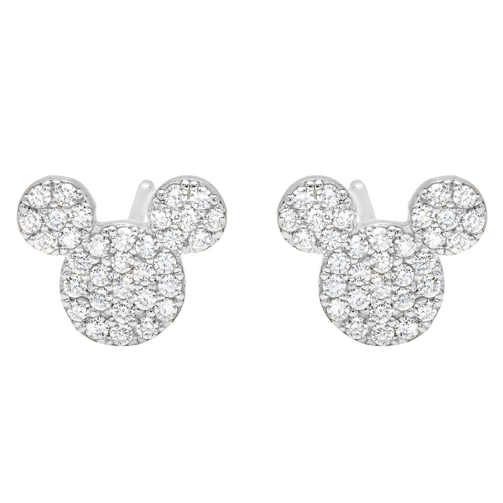 Mickey Mouse Icon Stud Earrings by CRISLU – Platinum