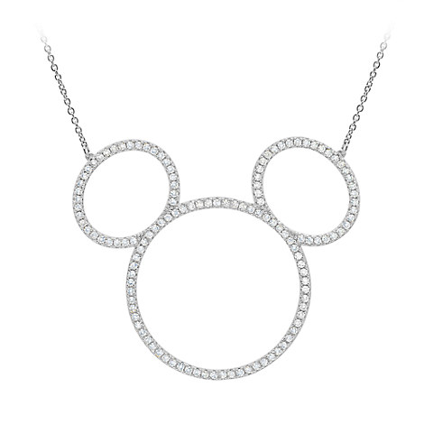Mickey Mouse Icon Silhouette Necklace by CRISLU - Platinum