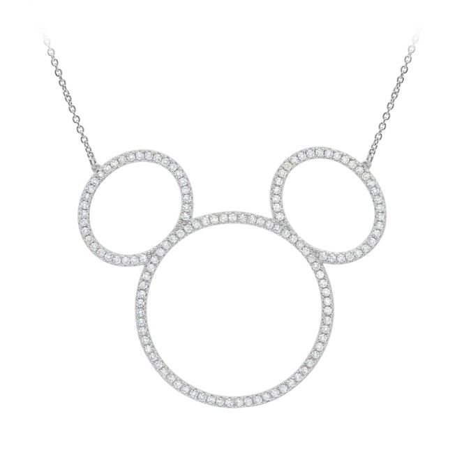 Mickey Mouse Icon Silhouette Necklace by CRISLU – Platinum