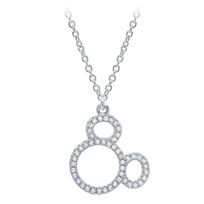 Mickey Mouse Icon Silhouette Pendant Necklace by CRISLU – Platinum