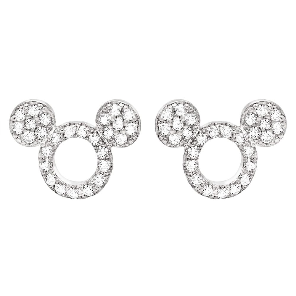 Mickey Mouse Icon Silhouette Stud Earrings by CRISLU – Platinum