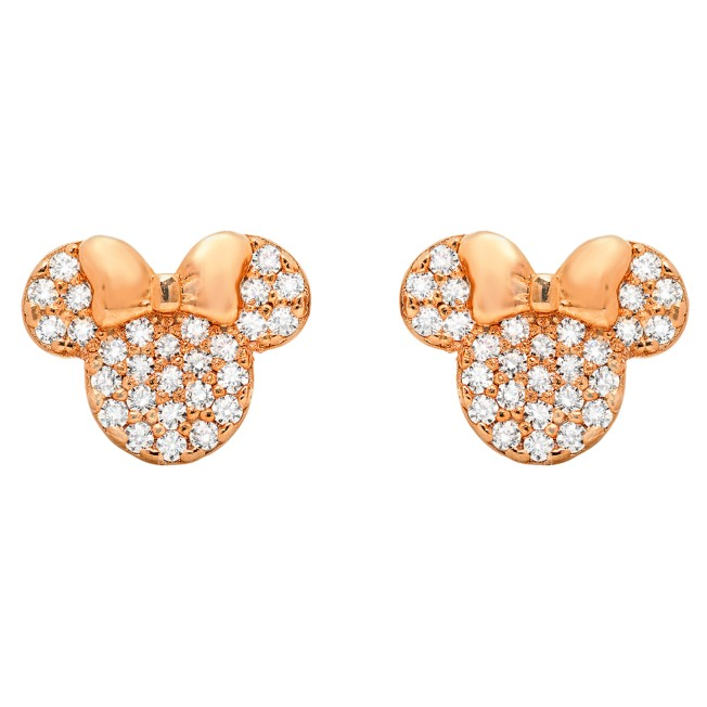 Minnie Mouse Icon Stud Earrings by CRISLU – Rose Gold