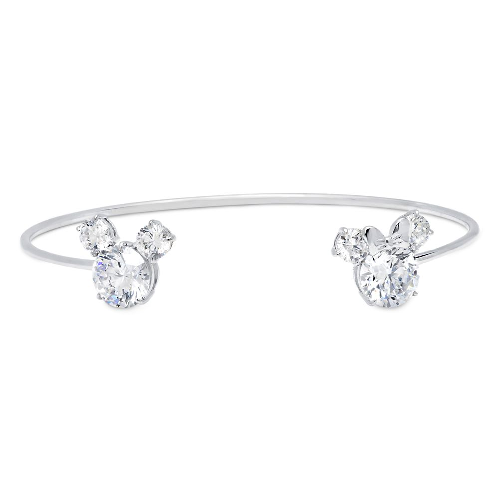 Mickey and Minnie Mouse Cuff Bracelet by CRISLU – Platinum