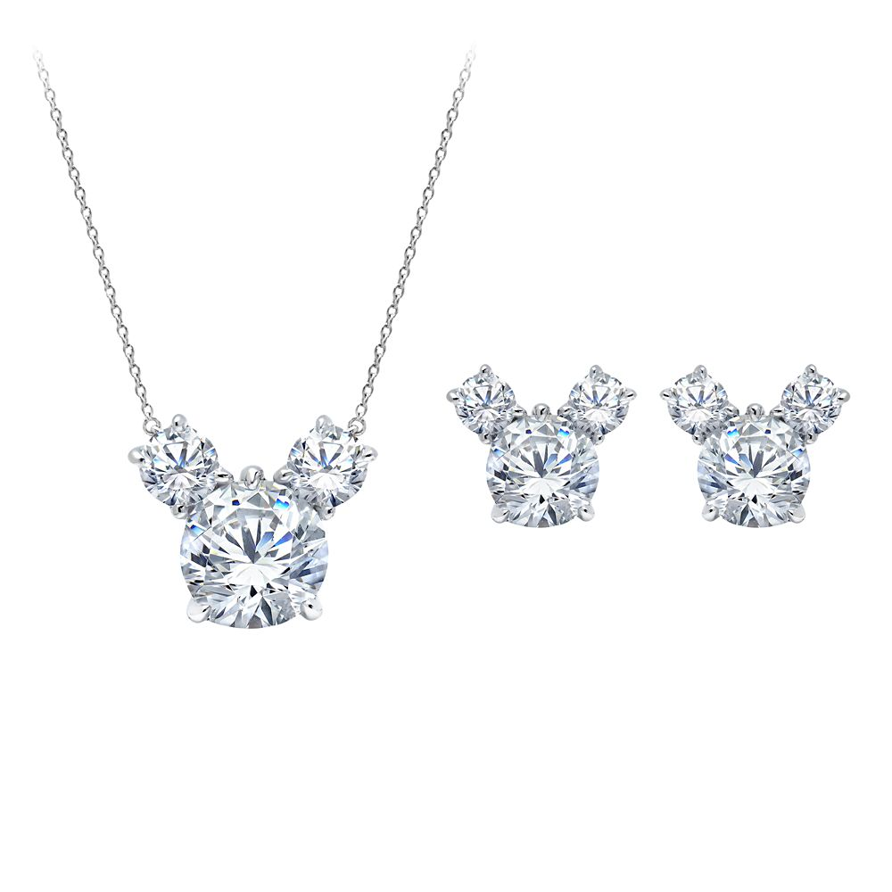 Mickey Mouse Necklace and Earrings Set by CRISLU – Platinum
