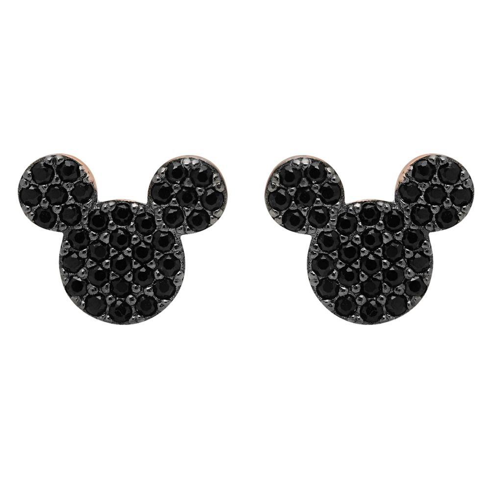 Mickey Mouse Black Pave Earrings by CRISLU – Rose Gold