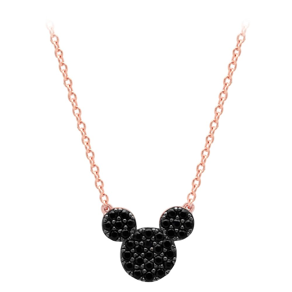 Mickey Mouse Black Pave Necklace by CRISLU – Rose Gold
