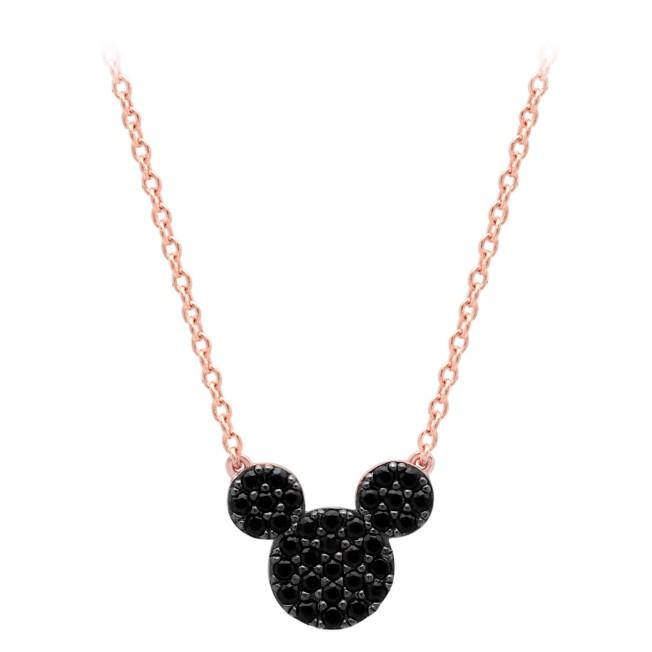 Mickey Mouse Black Pave Necklace by CRISLU – Rose Gold