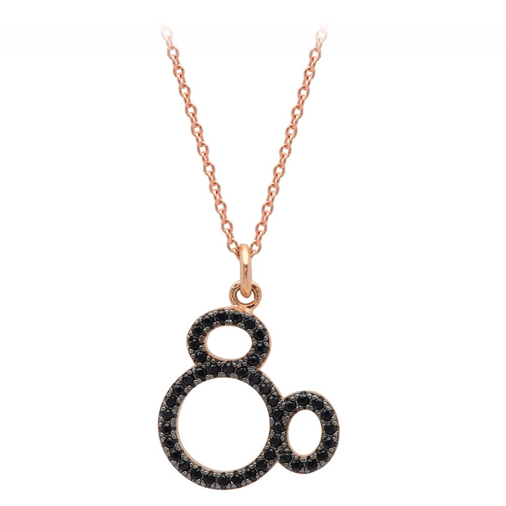Mickey Mouse Pave Icon Necklace by CRISLU – Rose Gold – Small