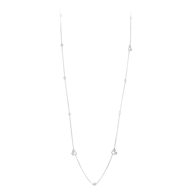 Mickey and Minnie Mouse Station Necklace by CRISLU – Platinum