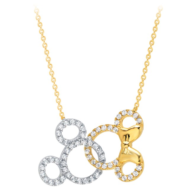 Mickey and Minnie Mouse Interlocking Icons Necklace by CRISLU