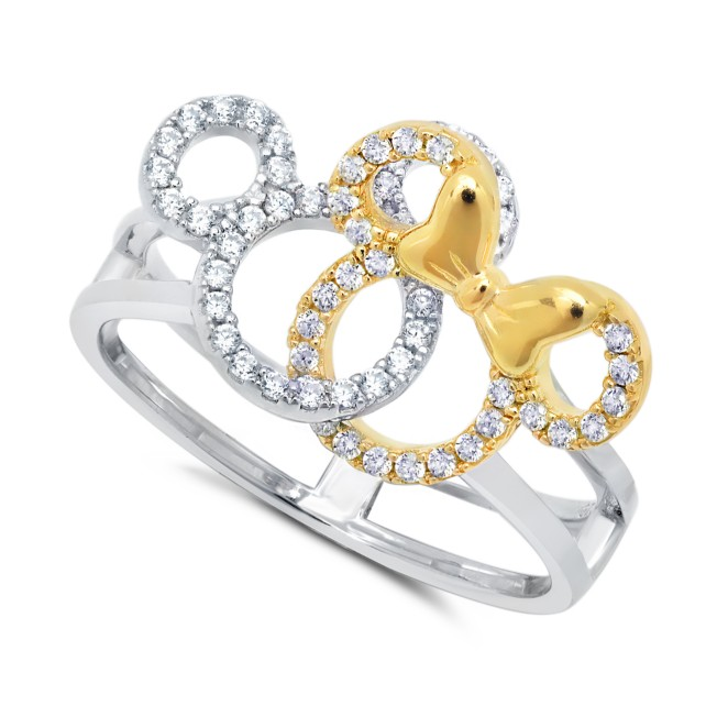 Mickey and Minnie Mouse Interlocking Icons Ring by CRISLU