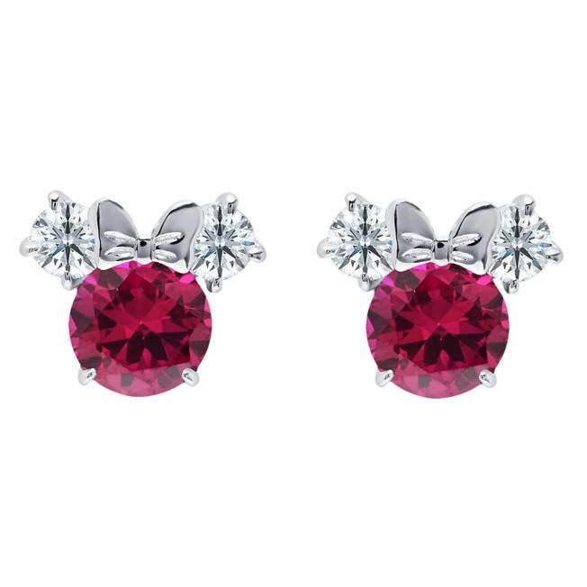 Minnie Mouse Birthstone Earrings by CRISLU – Platinum