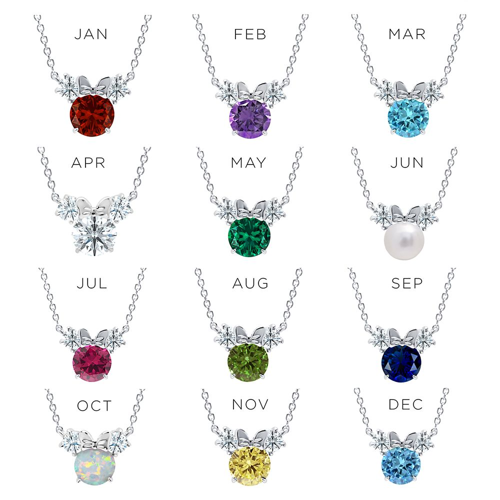 Minnie Mouse Birthstone Necklace by CRISLU – Platinum