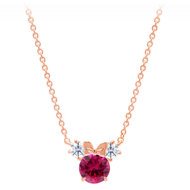 Minnie Mouse Birthstone Necklace by CRISLU – Rose Gold