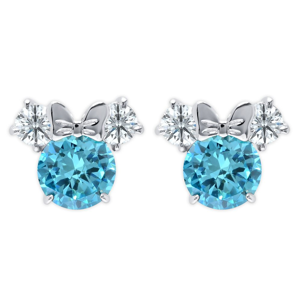 Minnie Mouse Birthstone Earrings for Kids by CRISLU – Platinum