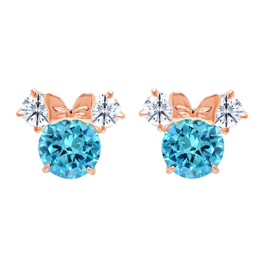 Minnie Mouse Birthstone Earrings for Kids by CRISLU – Rose Gold