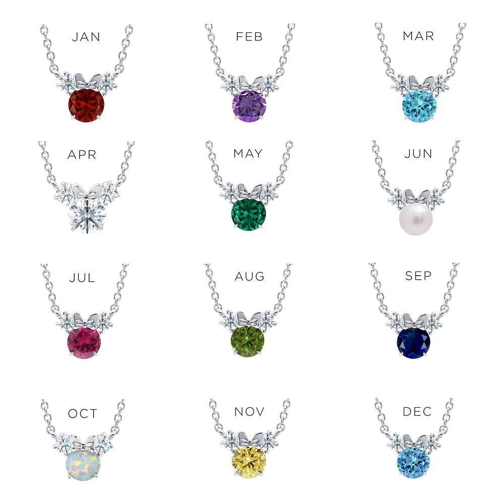 Minnie Mouse Birthstone Necklace for Kids by CRISLU – Platinum