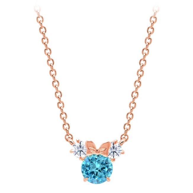 Minnie Mouse Birthstone Necklace for Kids by CRISLU – Rose Gold