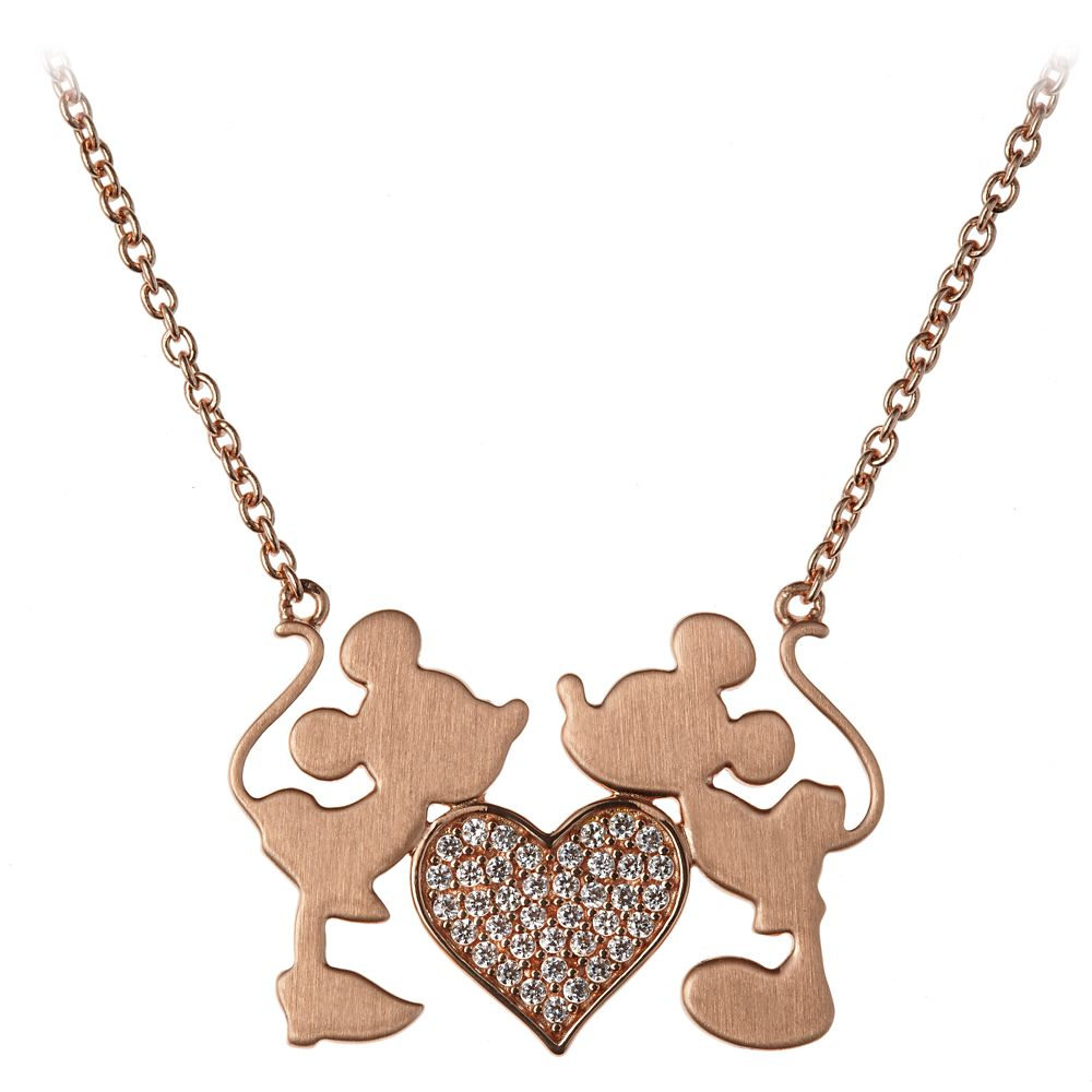 Mickey and Minnie Mouse Kiss Necklace by Rebecca Hook