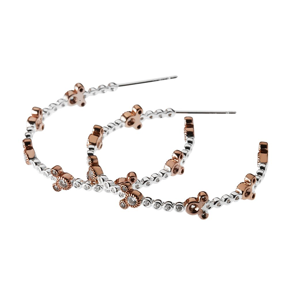 Mickey Mouse Rose Gold Icon Hoop Earrings by Rebecca Hook