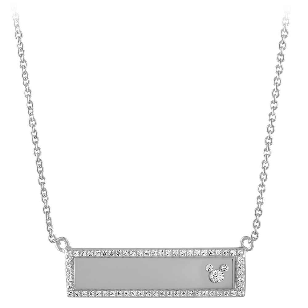 Mickey Mouse Icon Silver Bar Necklace by Rebecca Hook – Personalized
