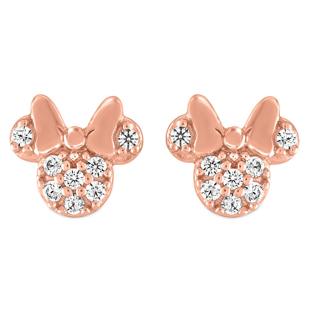 Minnie Mouse Icon Pavé Rose Gold Earrings by Rebecca Hook Official shopDisney