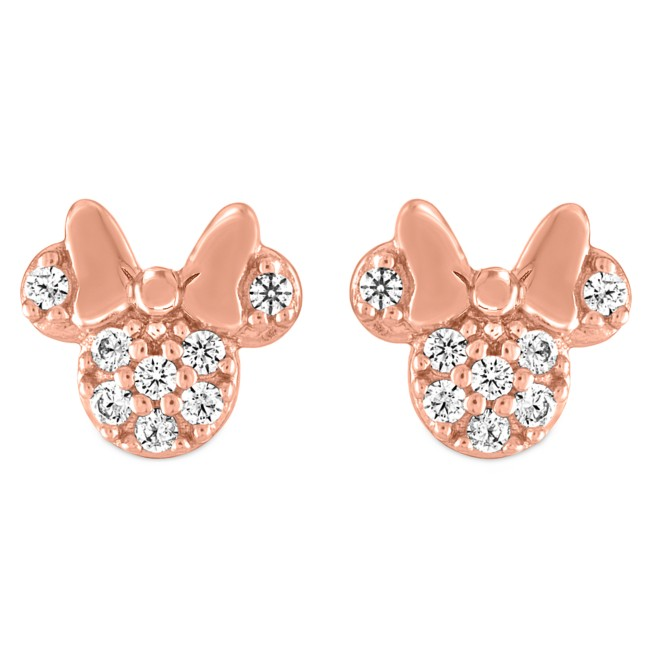 Minnie Mouse Icon Pavé Rose Gold Earrings by Rebecca Hook