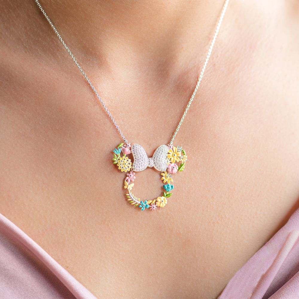 Minnie Mouse Flower Icon Necklace by Rebecca Hook