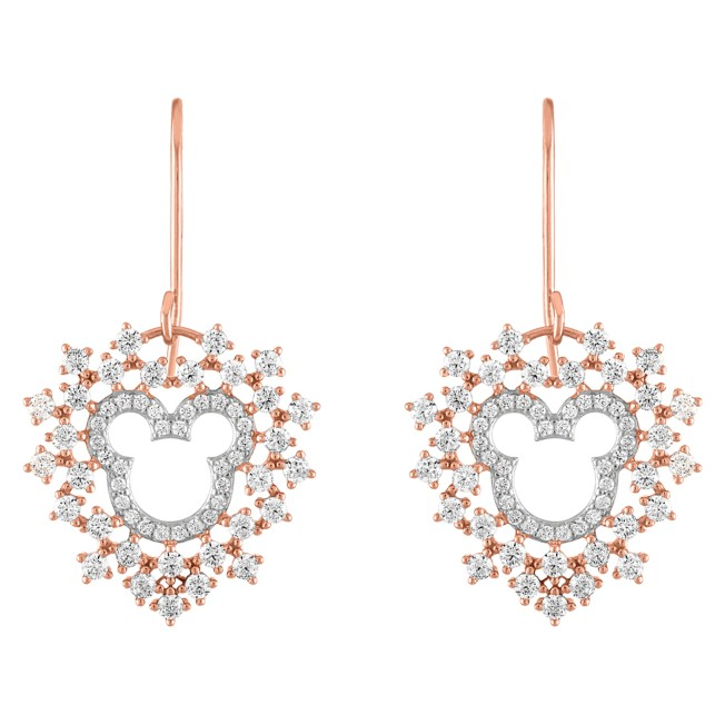 Mickey Mouse Rose Gold Heart Earrings by Rebecca Hook