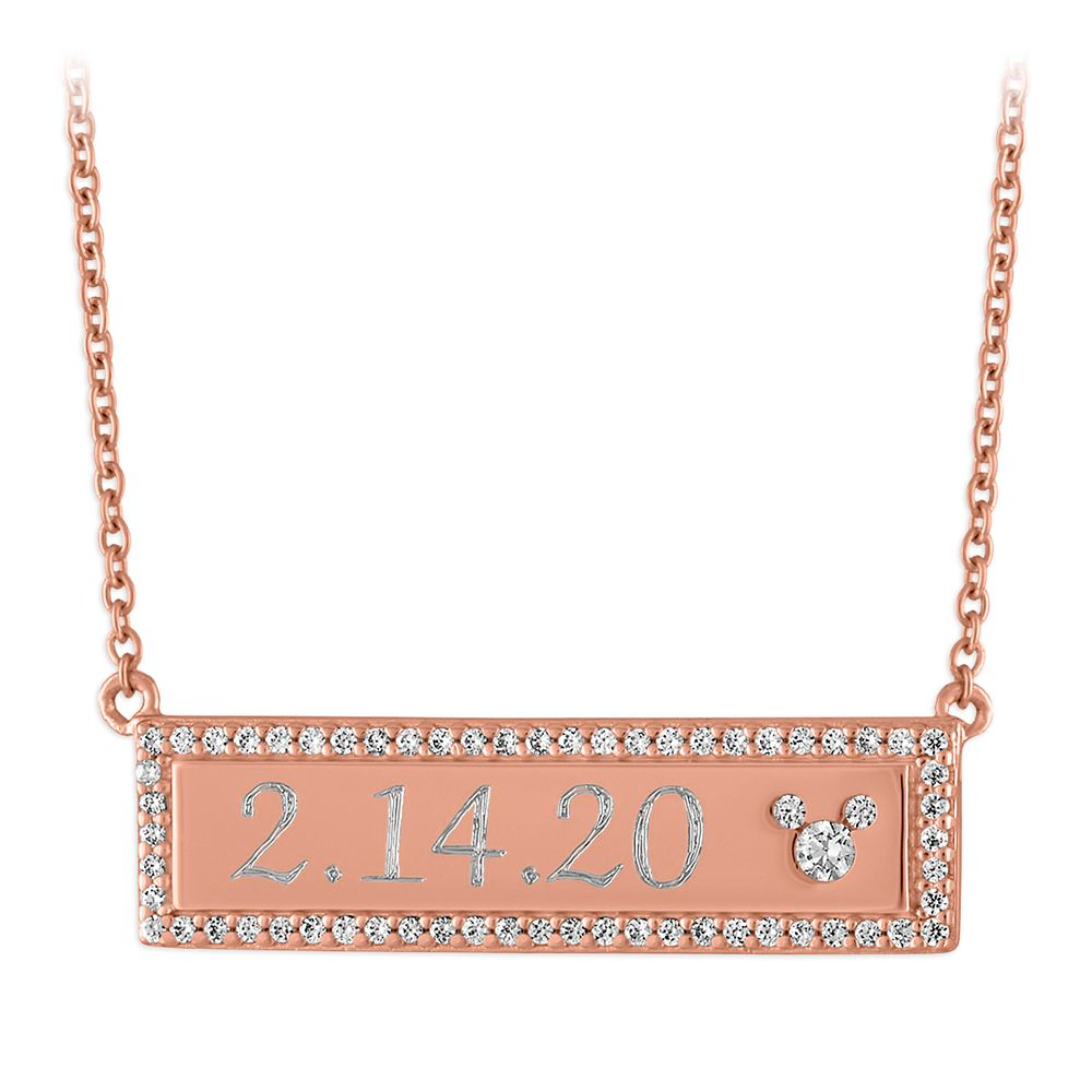 Mickey Mouse Icon Rose Gold Bar Necklace by Rebecca Hook – Personalized