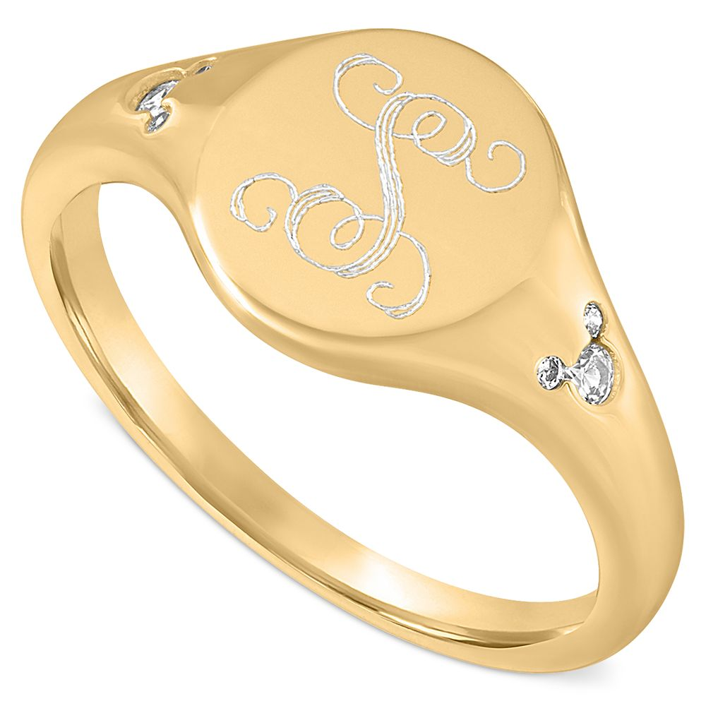 Mickey Mouse Gold Signet Ring by Rebecca Hook – Personalized
