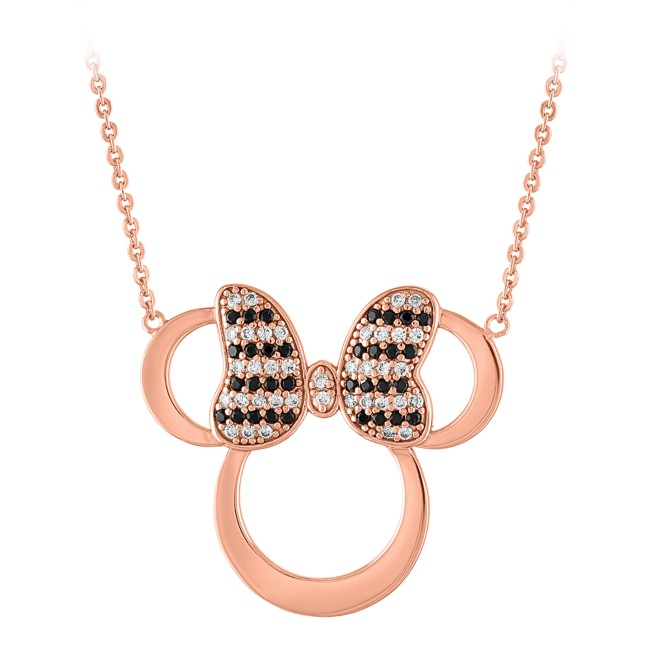 Minnie Mouse Rose Gold Icon Necklace by Rebecca Hook