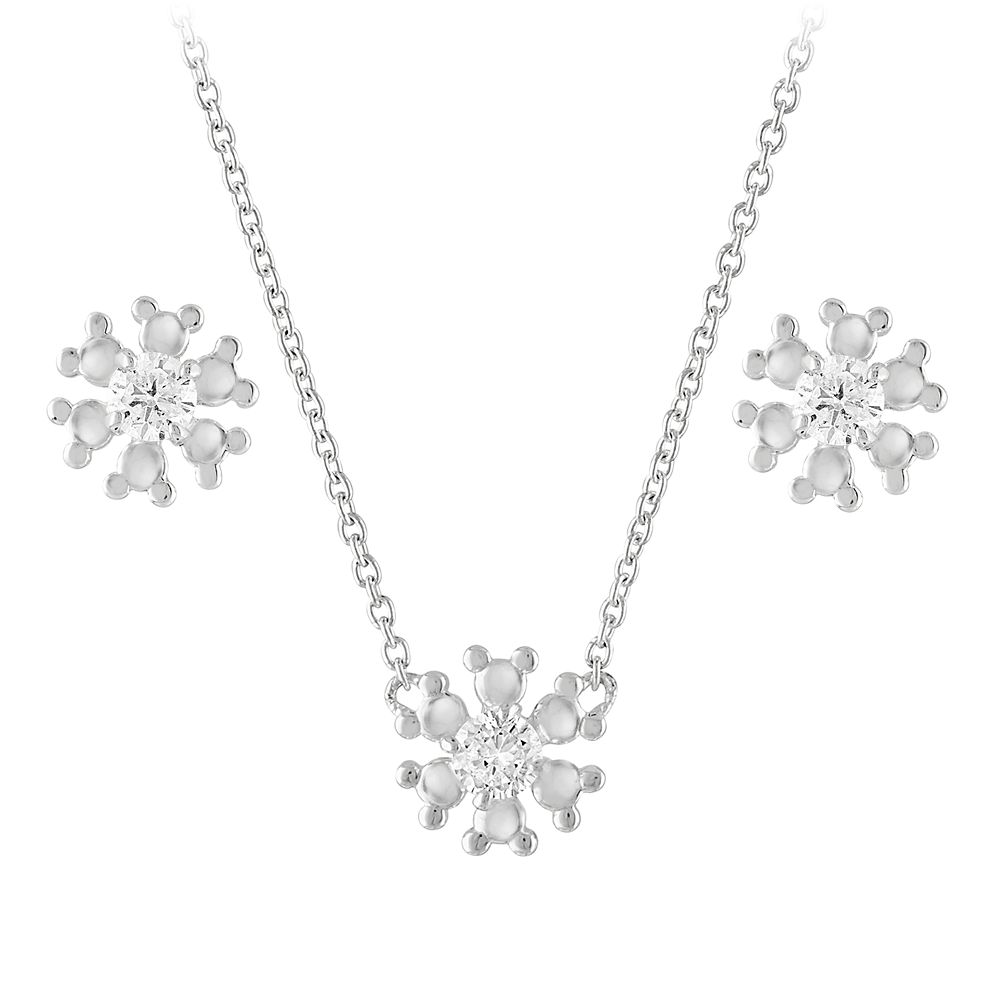 Mickey Mouse Icon Snowflake Earring and Necklace Set by Rebecca Hook