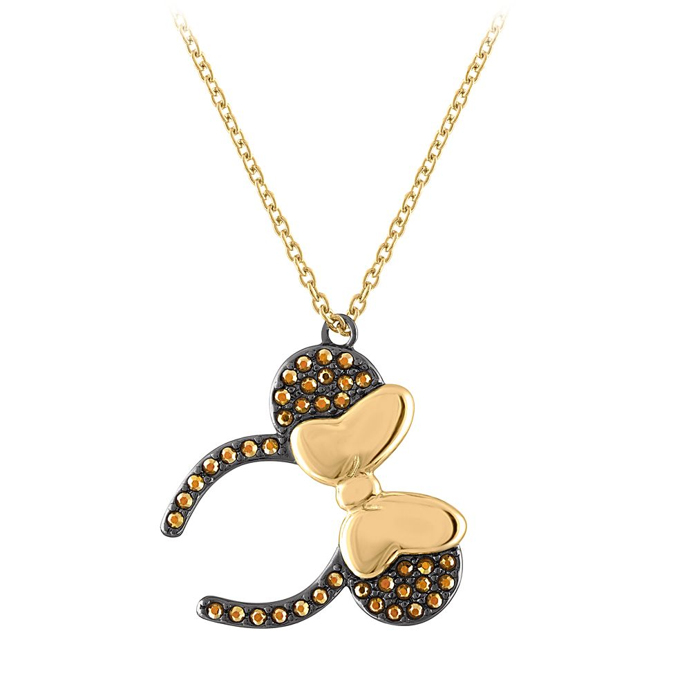 Minnie Mouse Ears Headband Necklace by Rebecca Hook – Black & Goldtone