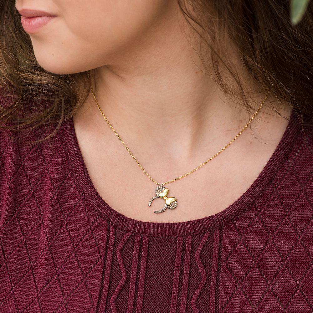 Minnie Mouse Ears Headband Necklace by Rebecca Hook – Black & Goldtone