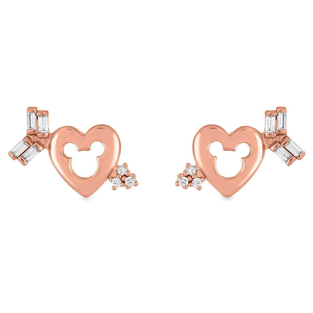 Mickey Mouse Icon Heart and Arrow Earrings by Rebecca Hook
