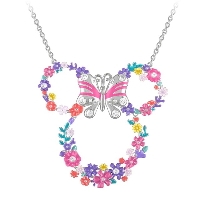 Minnie Mouse Floral Icon Necklace by Rebecca Hook