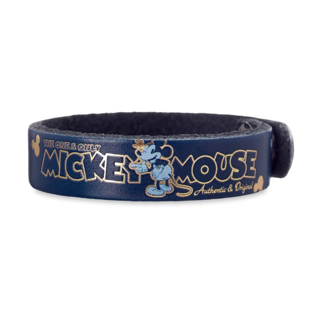 Mickey Mouse Icon Leather Bracelet – Personalizable