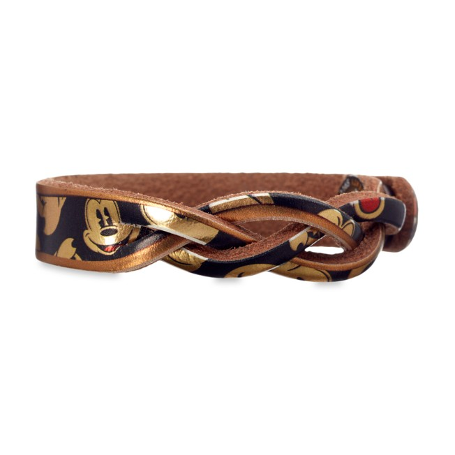 Mickey Mouse Braid Leather Bracelet – Personalizable