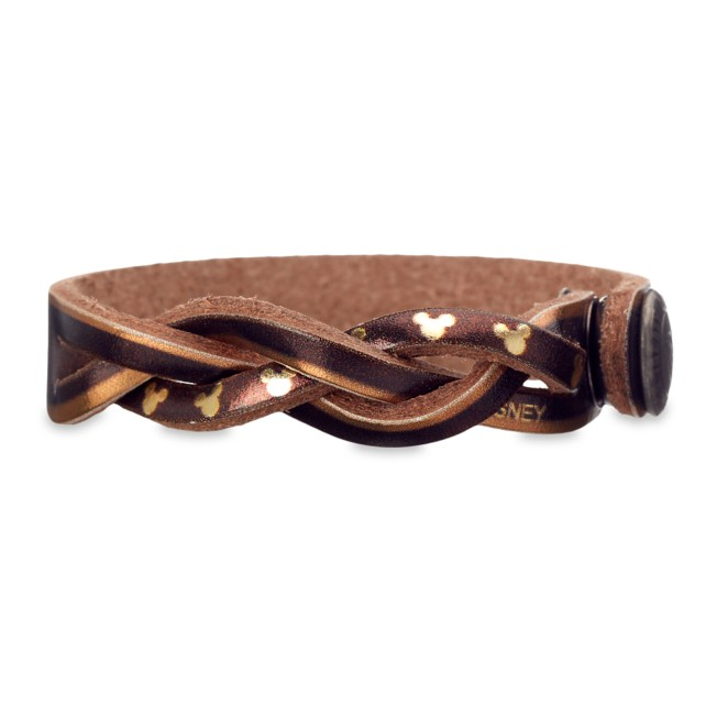 Mickey Mouse Icon Braided Metallic Leather Bracelet – Personalizable