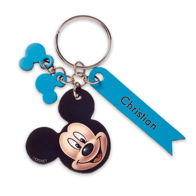 Mickey Mouse Face Leather Keychain – Personalizable