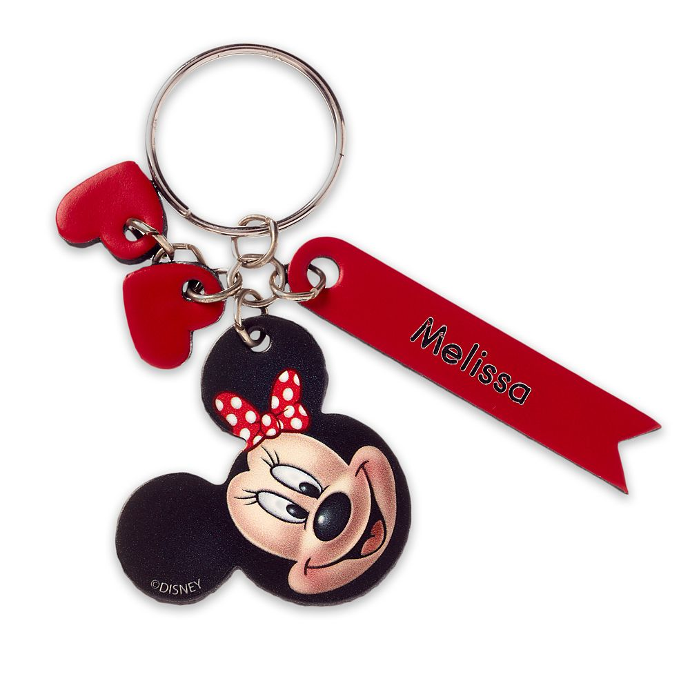 Minnie Mouse Face Leather Keychain – Personalizable